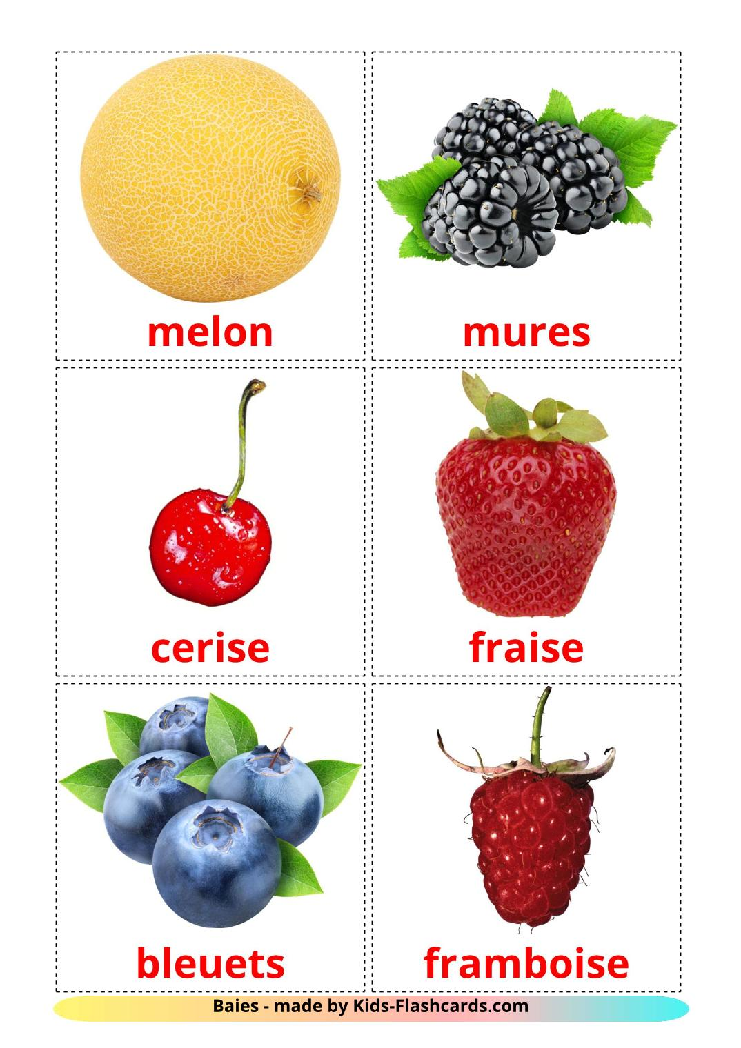 Berries - 11 Free Printable french Flashcards