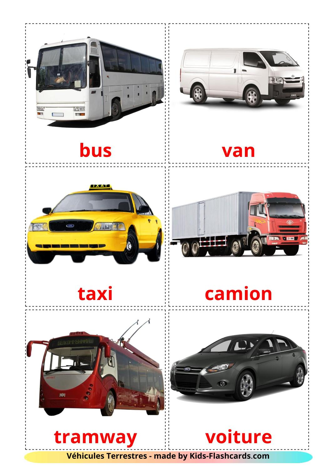 Land transport - 28 Free Printable french Flashcards