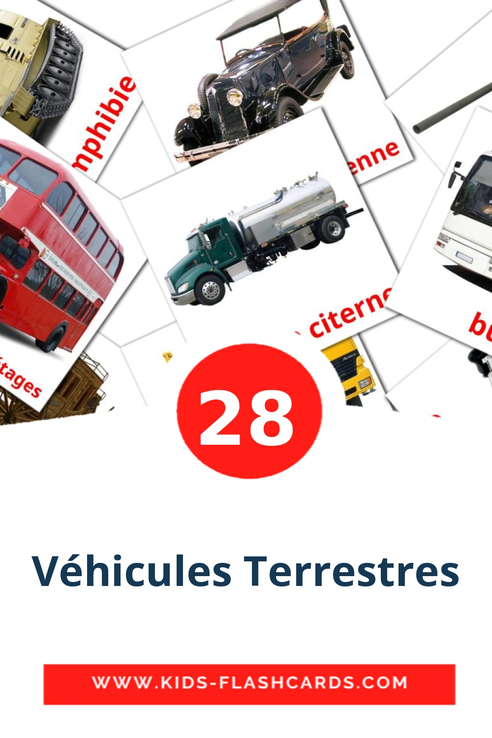 28 Transport Terrestre Picture Cards for Kindergarden in french