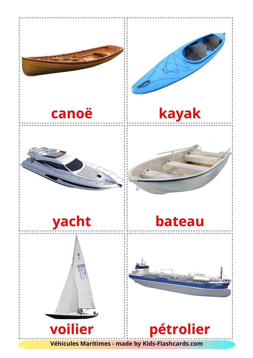Water transport - 18 Free Printable french Flashcards