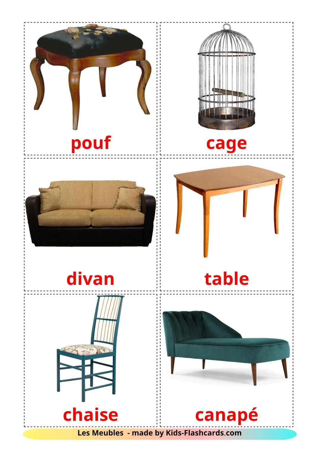 Furniture - 31 Free Printable french Flashcards