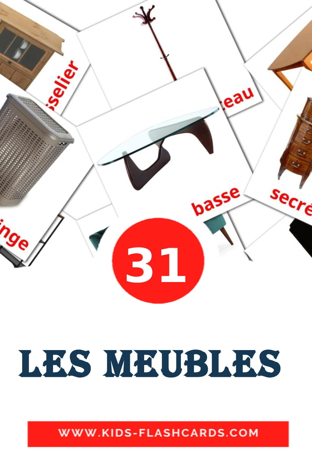 31 Les meubles  Picture Cards for Kindergarden in french