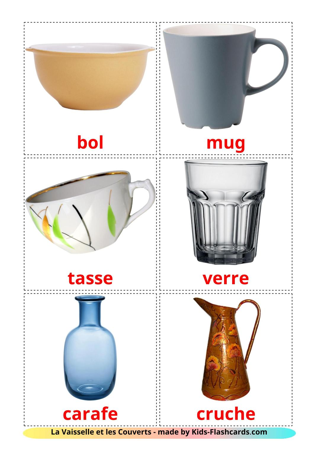 Crockery and cutlery - 29 Free Printable french Flashcards