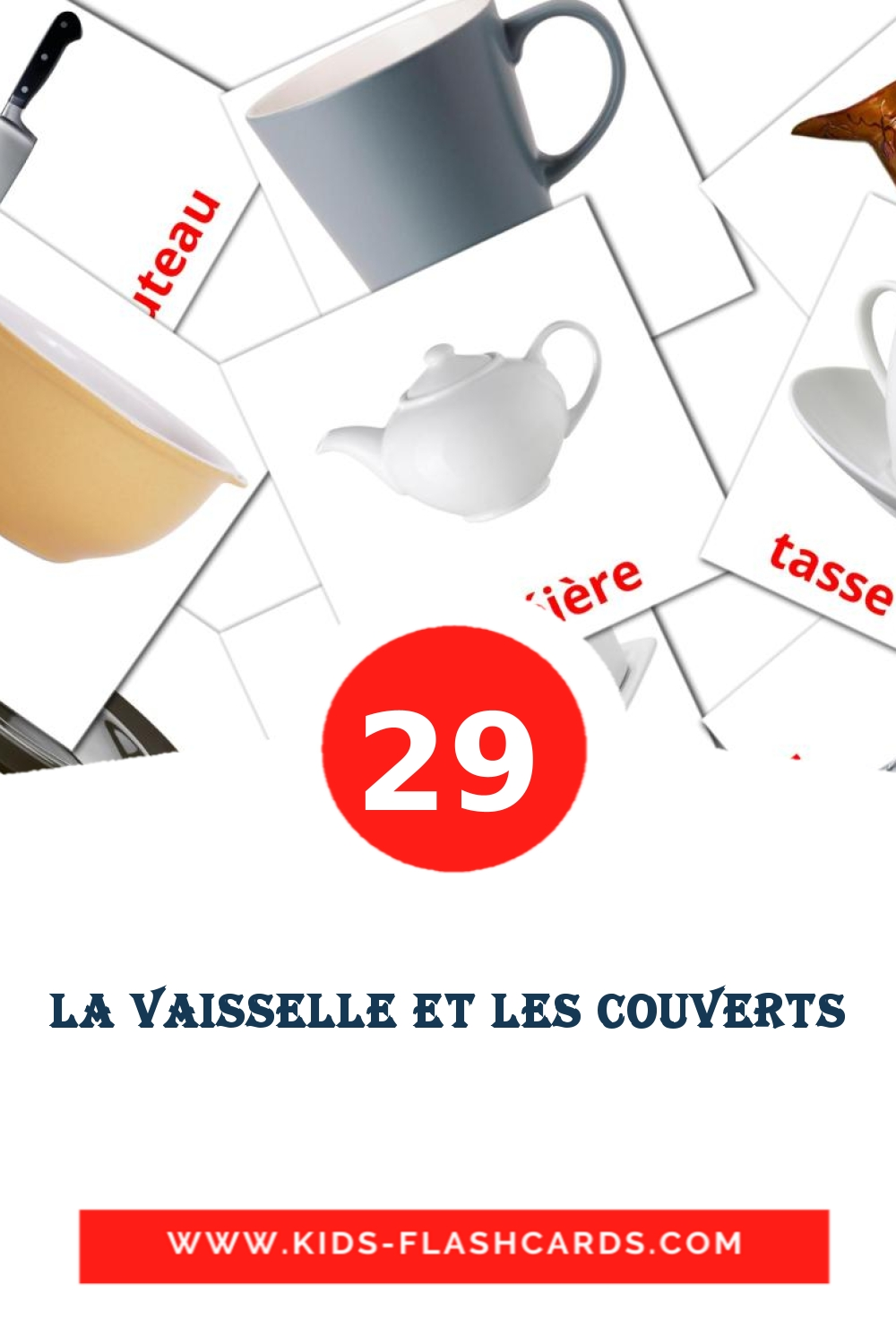 29 Vaisselle et couverts Picture Cards for Kindergarden in french