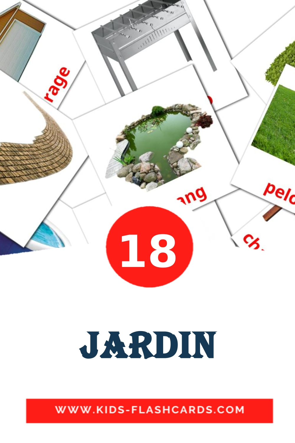 18 Jardin Picture Cards for Kindergarden in french