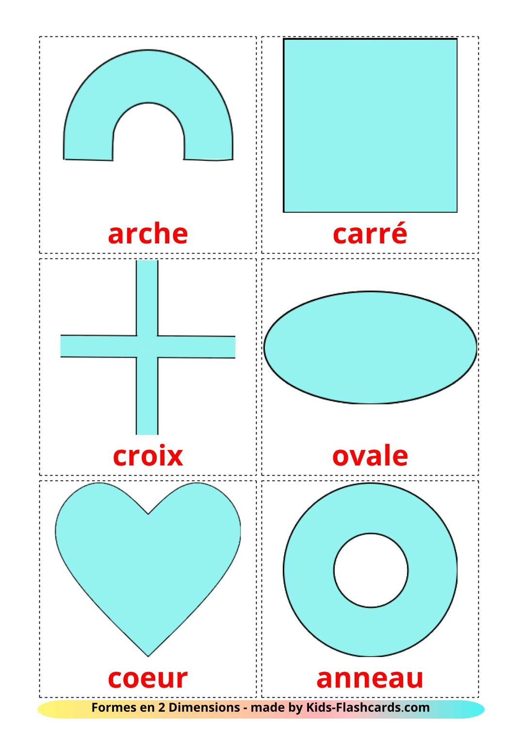 2D Shapes - 35 Free Printable french Flashcards