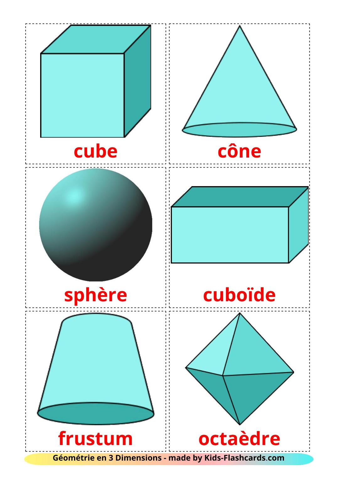 3D Shapes - 17 Free Printable french Flashcards
