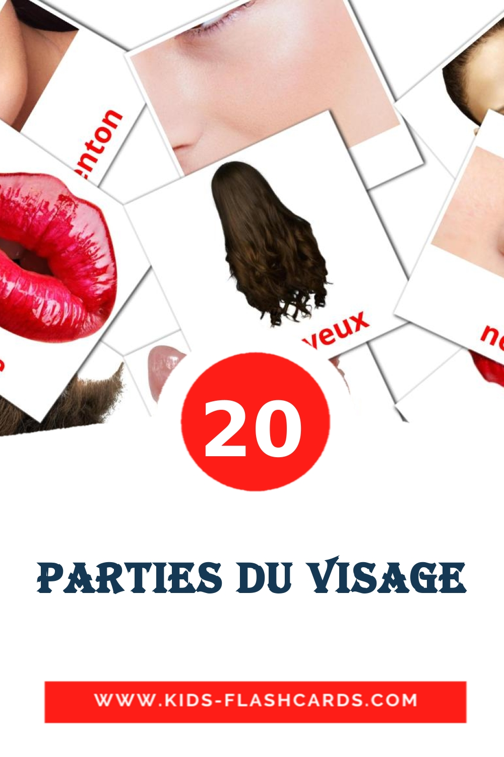 20 Visage Picture Cards for Kindergarden in french