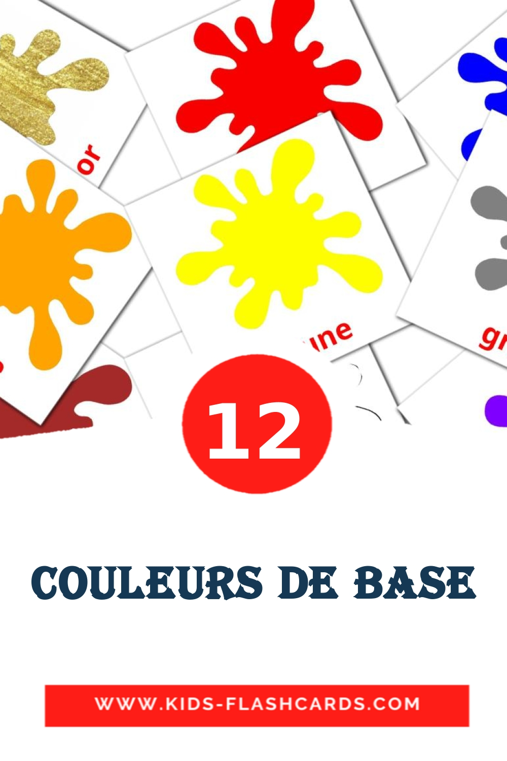 12 Couleurs de base Picture Cards for Kindergarden in french