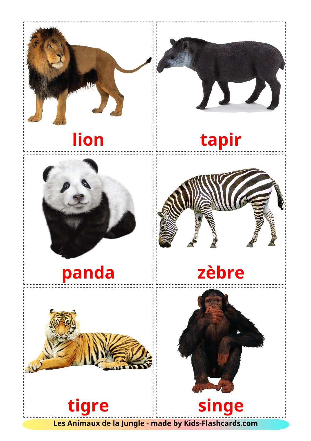 Jungle animals - 21 Free Printable french Flashcards