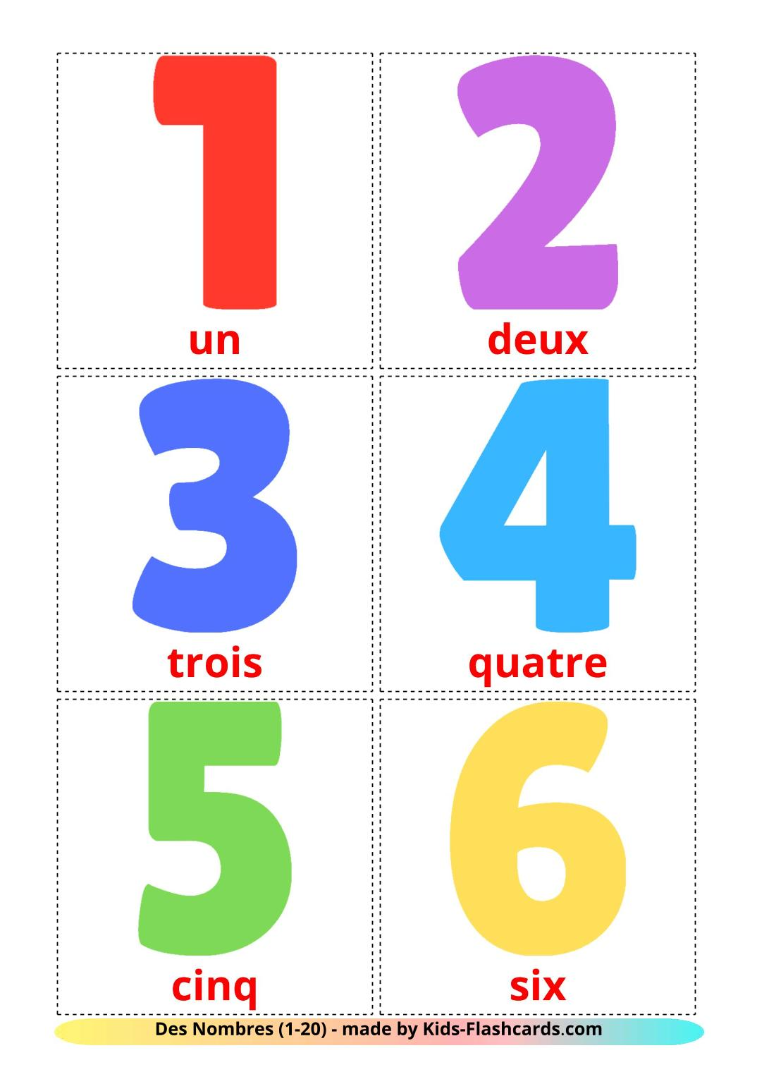Numbers (1-20) - 20 Free Printable french Flashcards