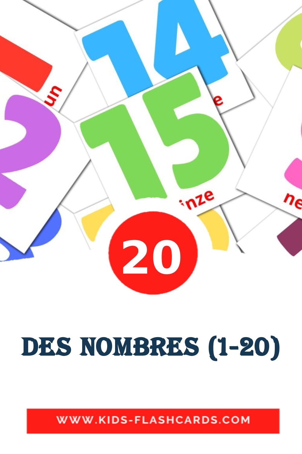 20 Nombres (1-20) Picture Cards for Kindergarden in french