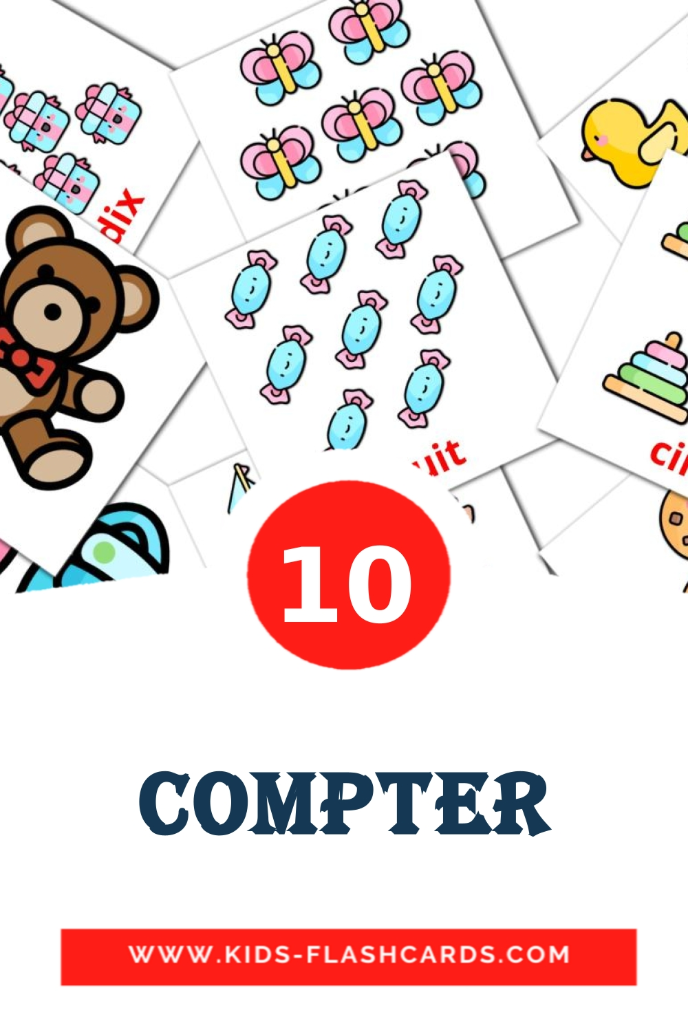 10 Compter Picture Cards for Kindergarden in french