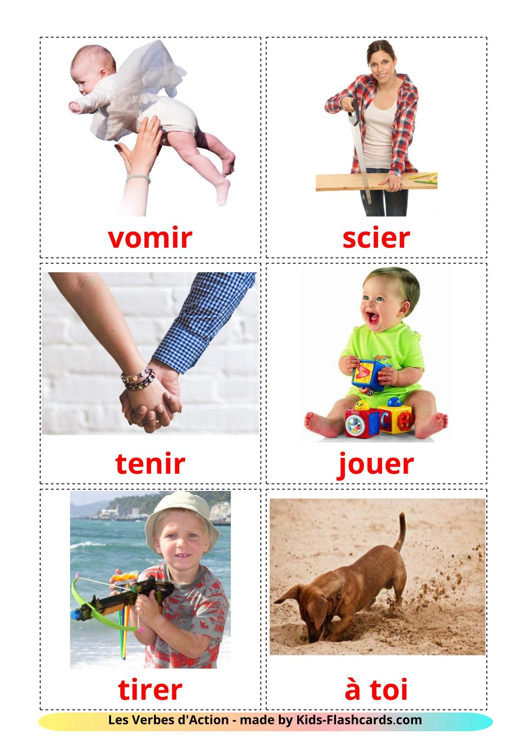 Action verbs - 55 Free Printable french Flashcards
