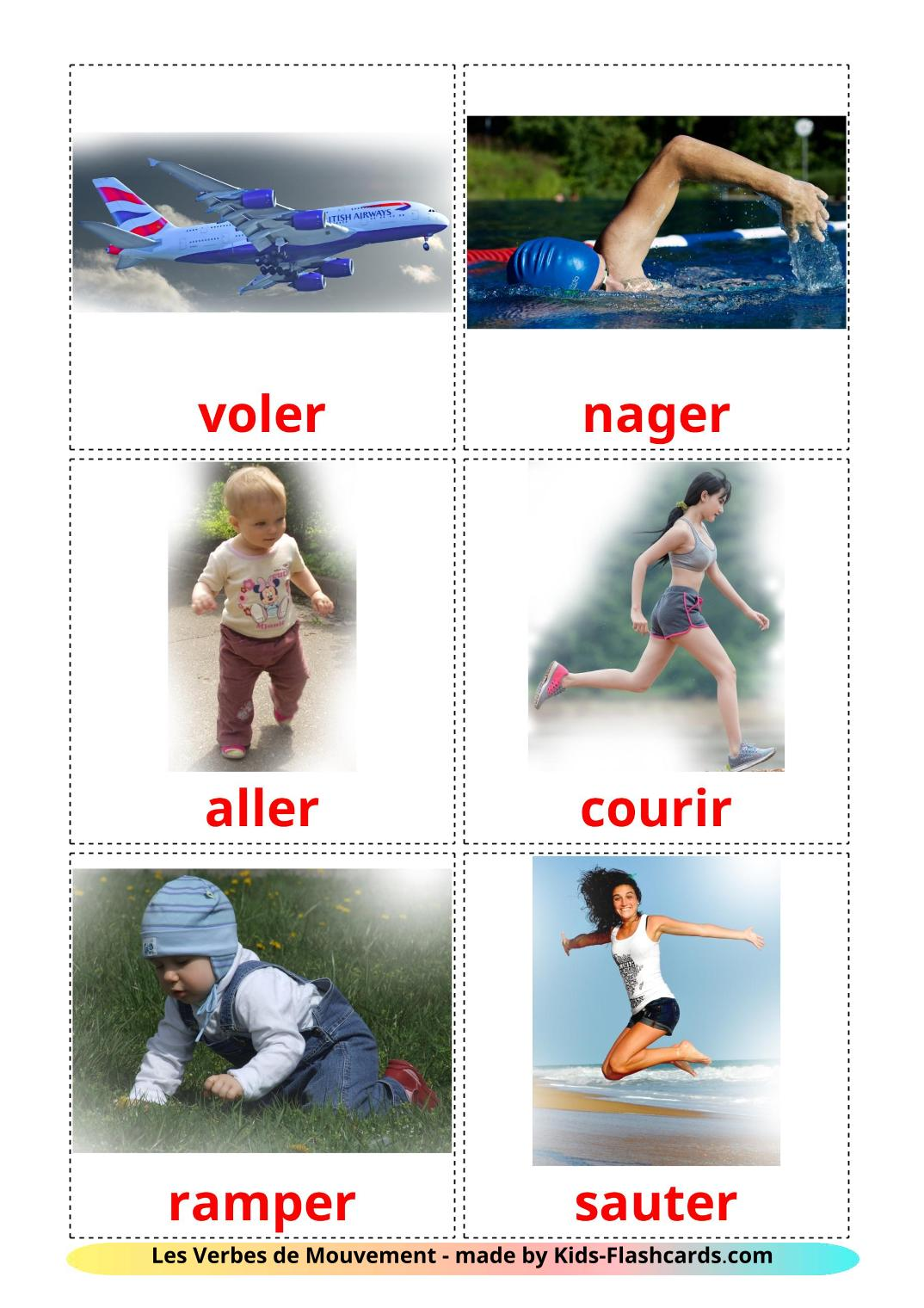Movement verbs - 22 Free Printable french Flashcards
