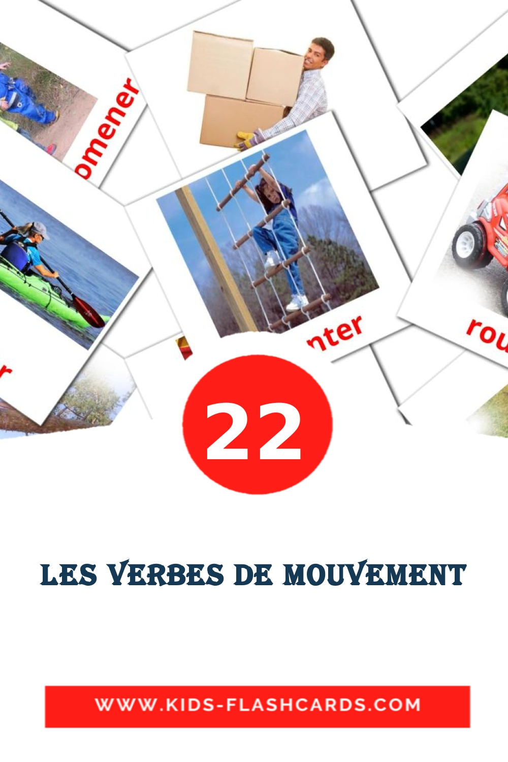 22 les verbes de mouvement Picture Cards for Kindergarden in french