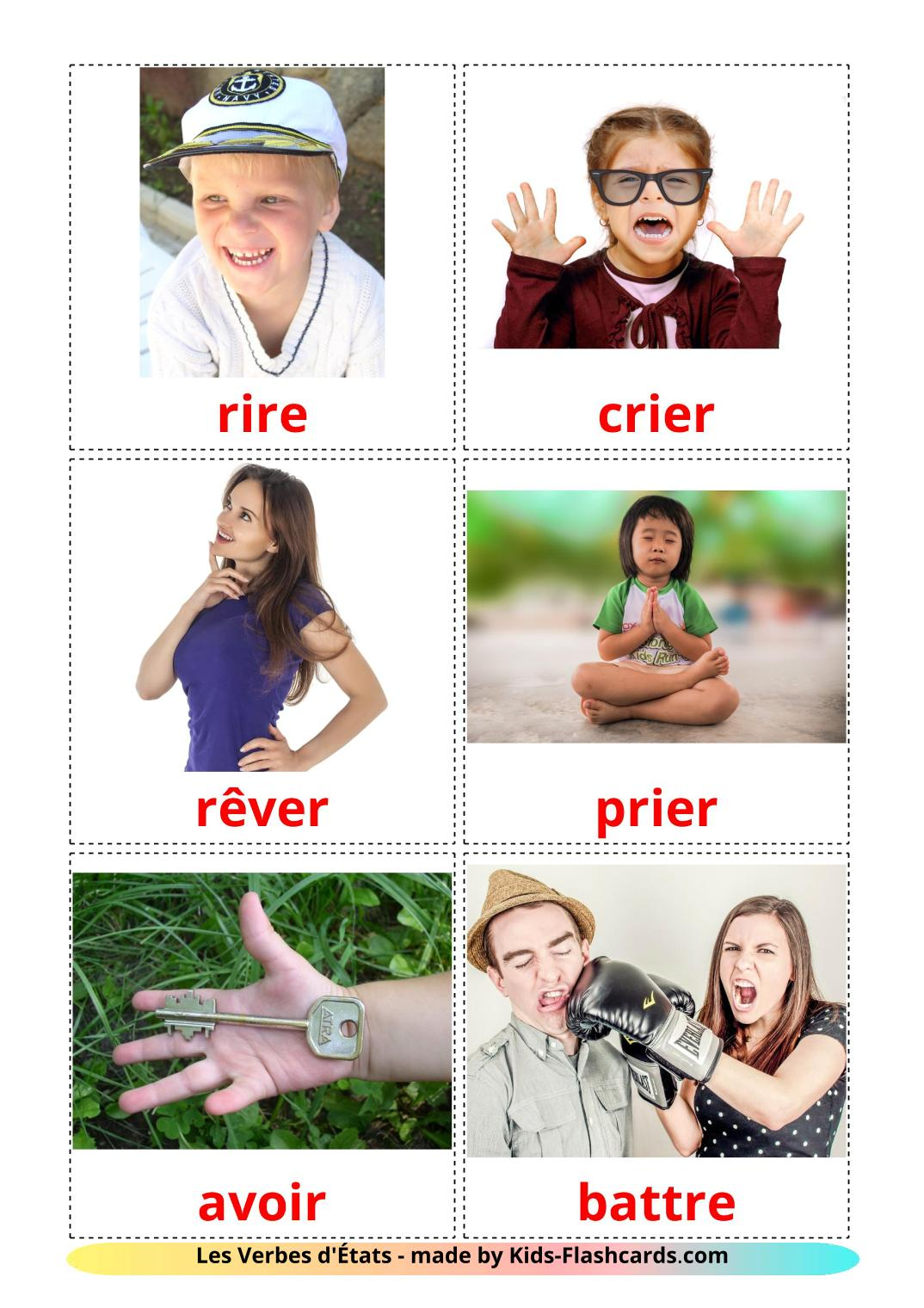 State verbs - 23 Free Printable french Flashcards