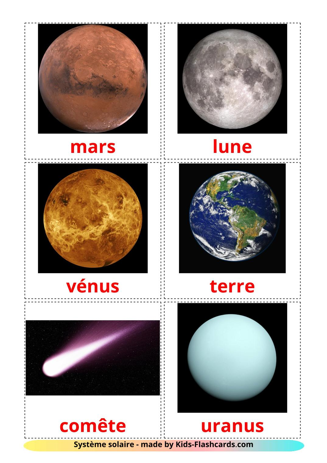 Solar System - 20 Free Printable french Flashcards