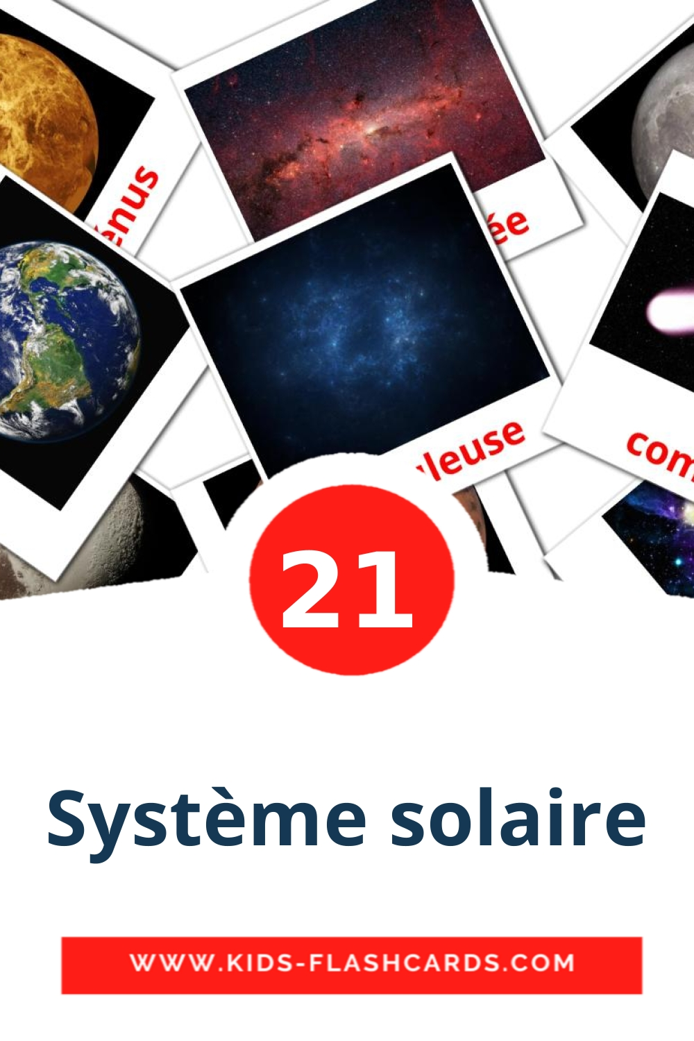 20 Système solaire Picture Cards for Kindergarden in french