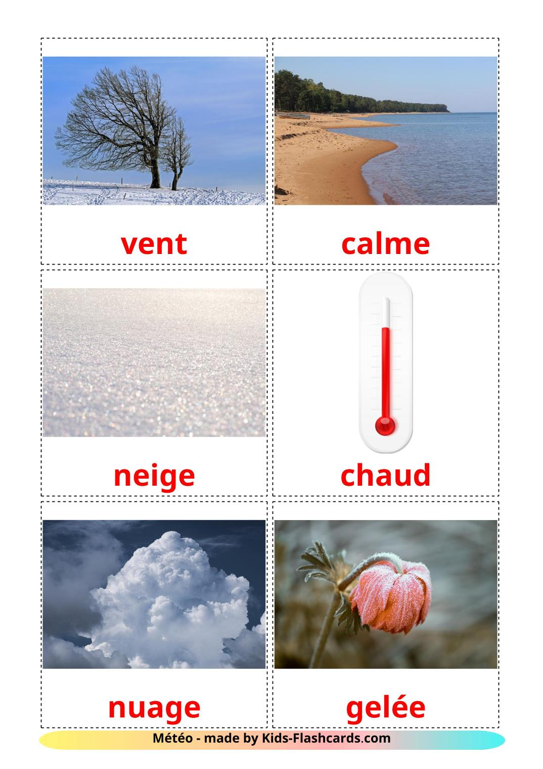 Weather - 31 Free Printable french Flashcards