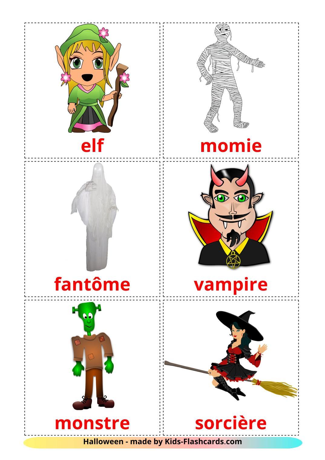 Halloween - 16 Free Printable french Flashcards