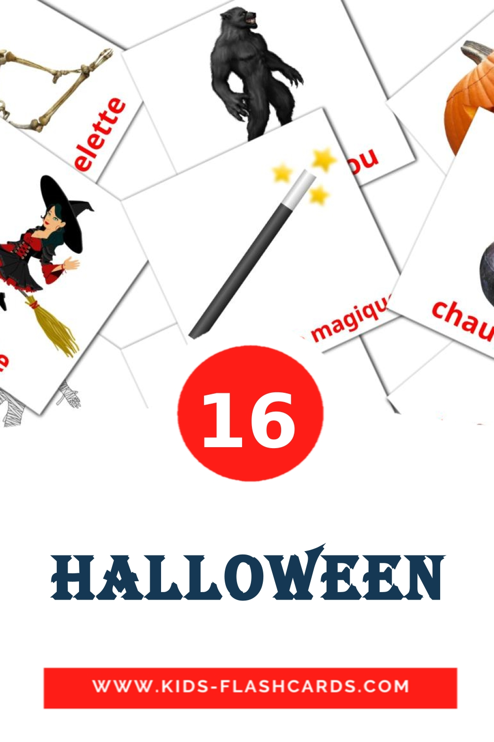 16 Halloween Picture Cards for Kindergarden in french