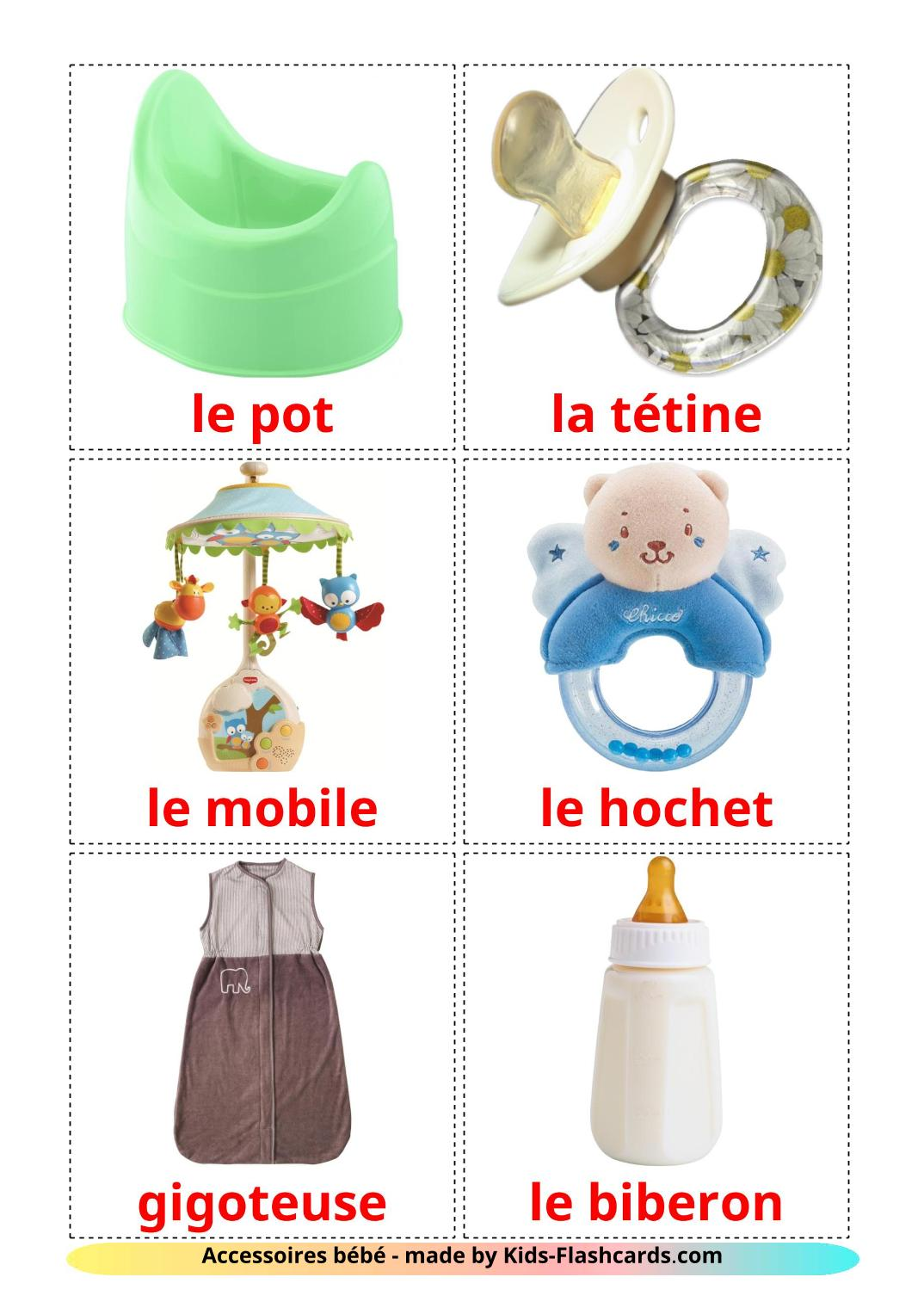My Things - 20 Free Printable french Flashcards