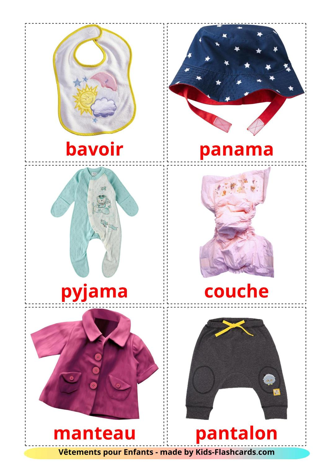 Baby clothes - 12 Free Printable french Flashcards