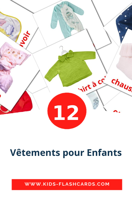 12 Vêtements pour enfants Picture Cards for Kindergarden in french