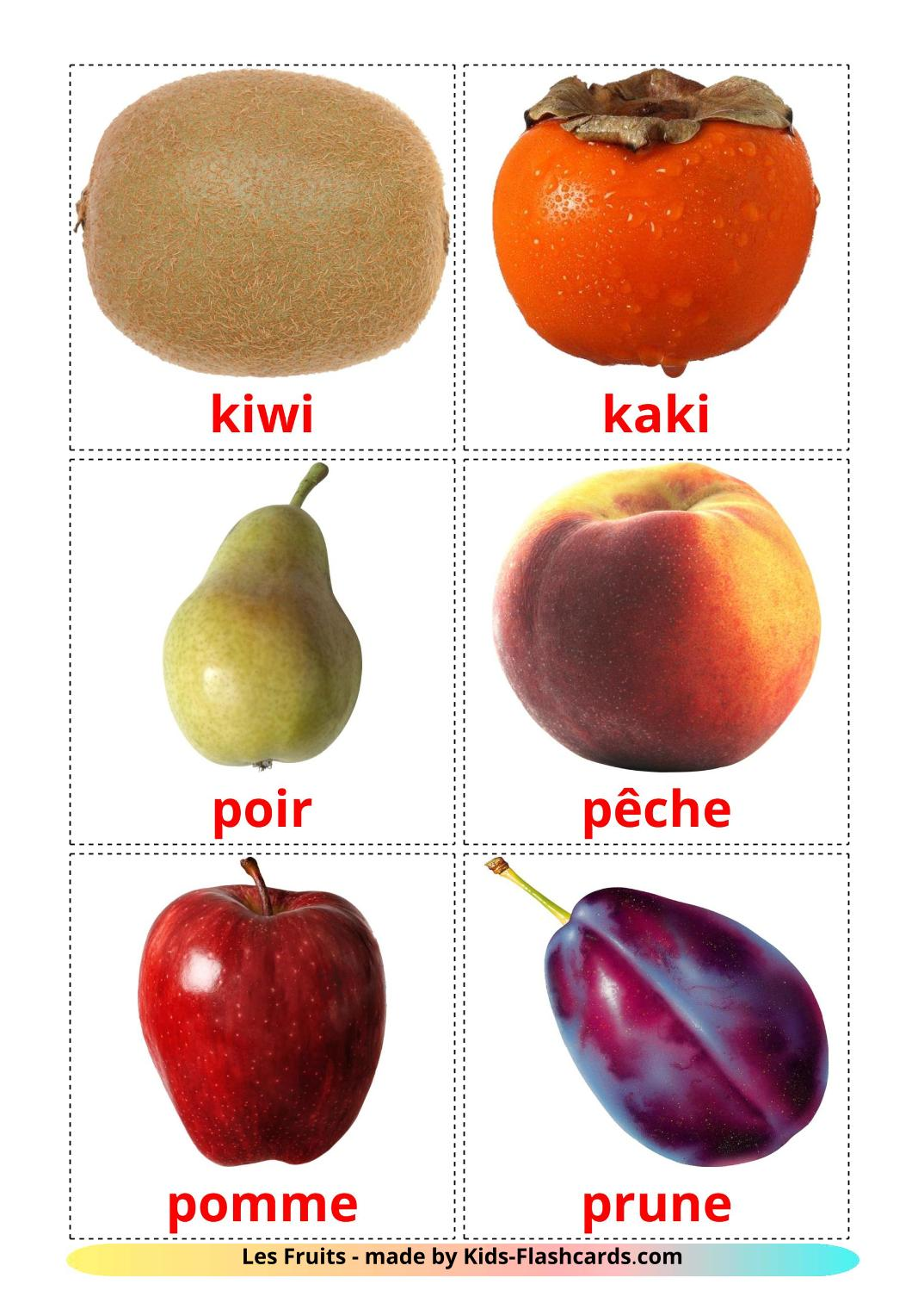 Fruits - 20 Free Printable french Flashcards