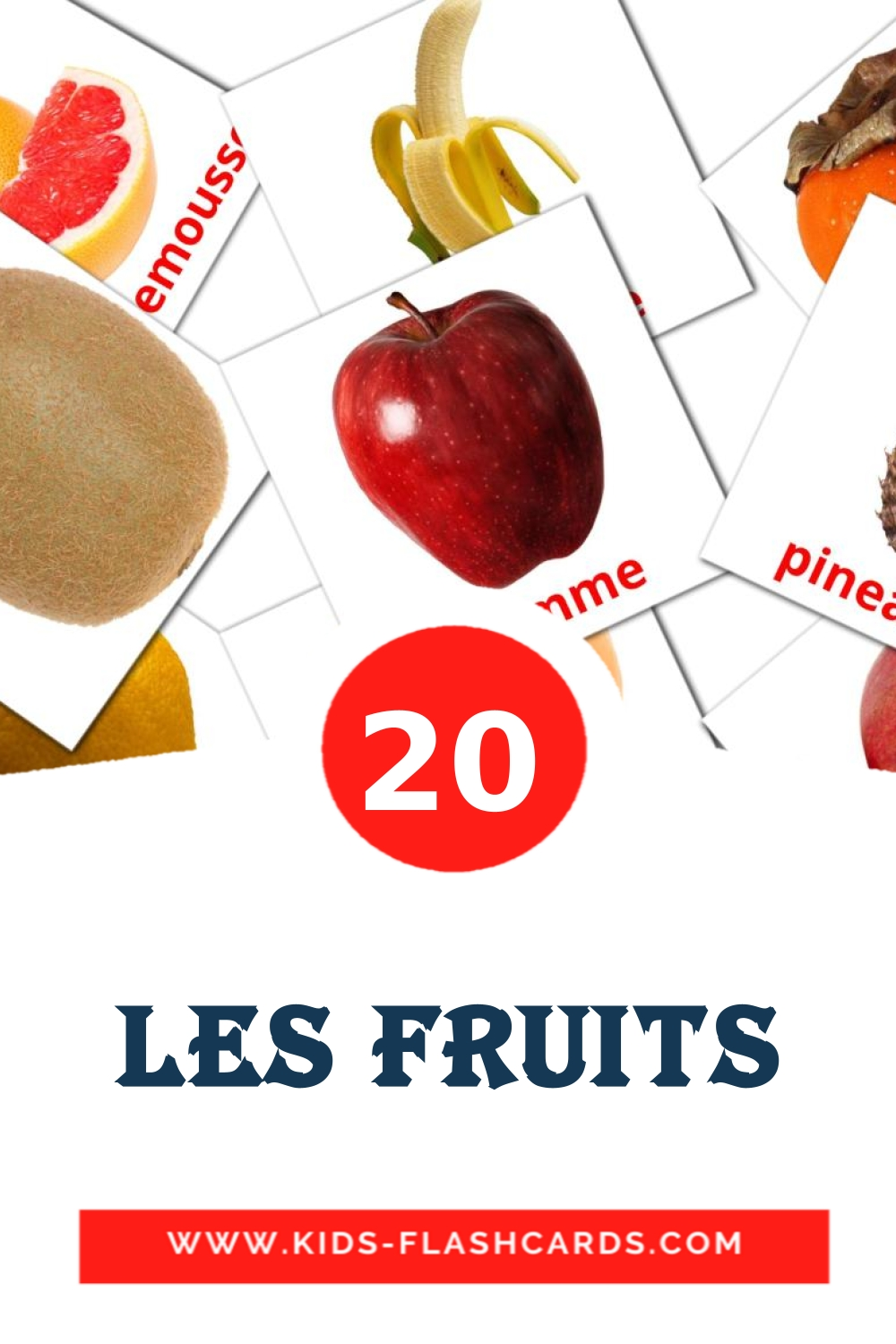 20 Fruits Picture Cards for Kindergarden in french