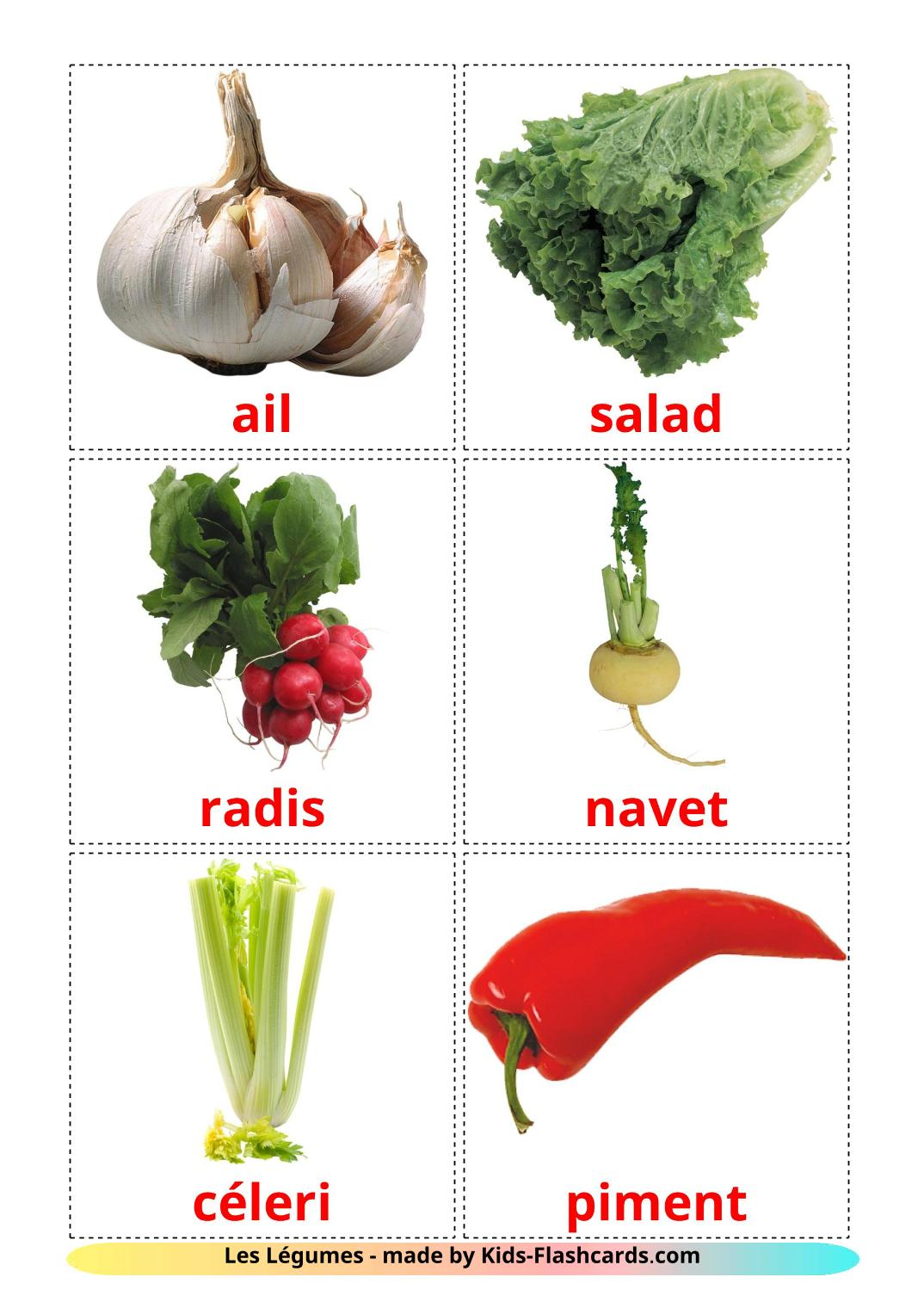 Vegetables - 29 Free Printable french Flashcards