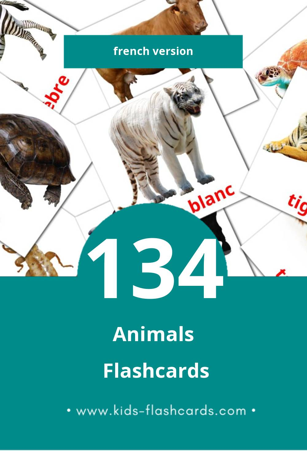 Visual Animaux Flashcards for Toddlers (134 cards in French)
