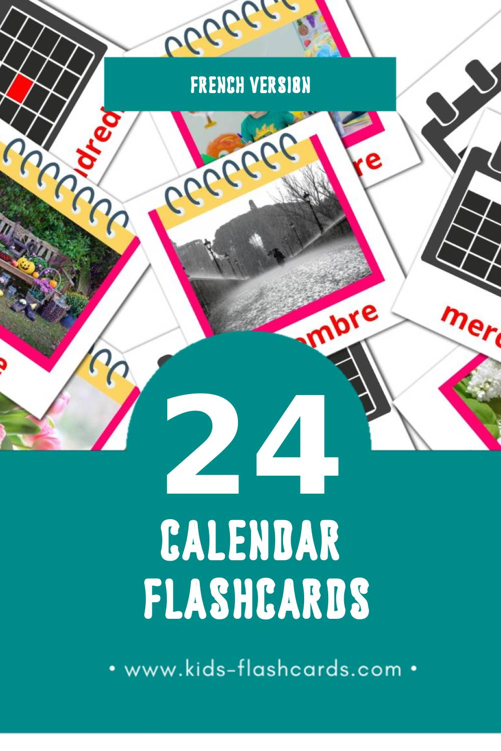 Visual Calendrier Flashcards for Toddlers (24 cards in French)