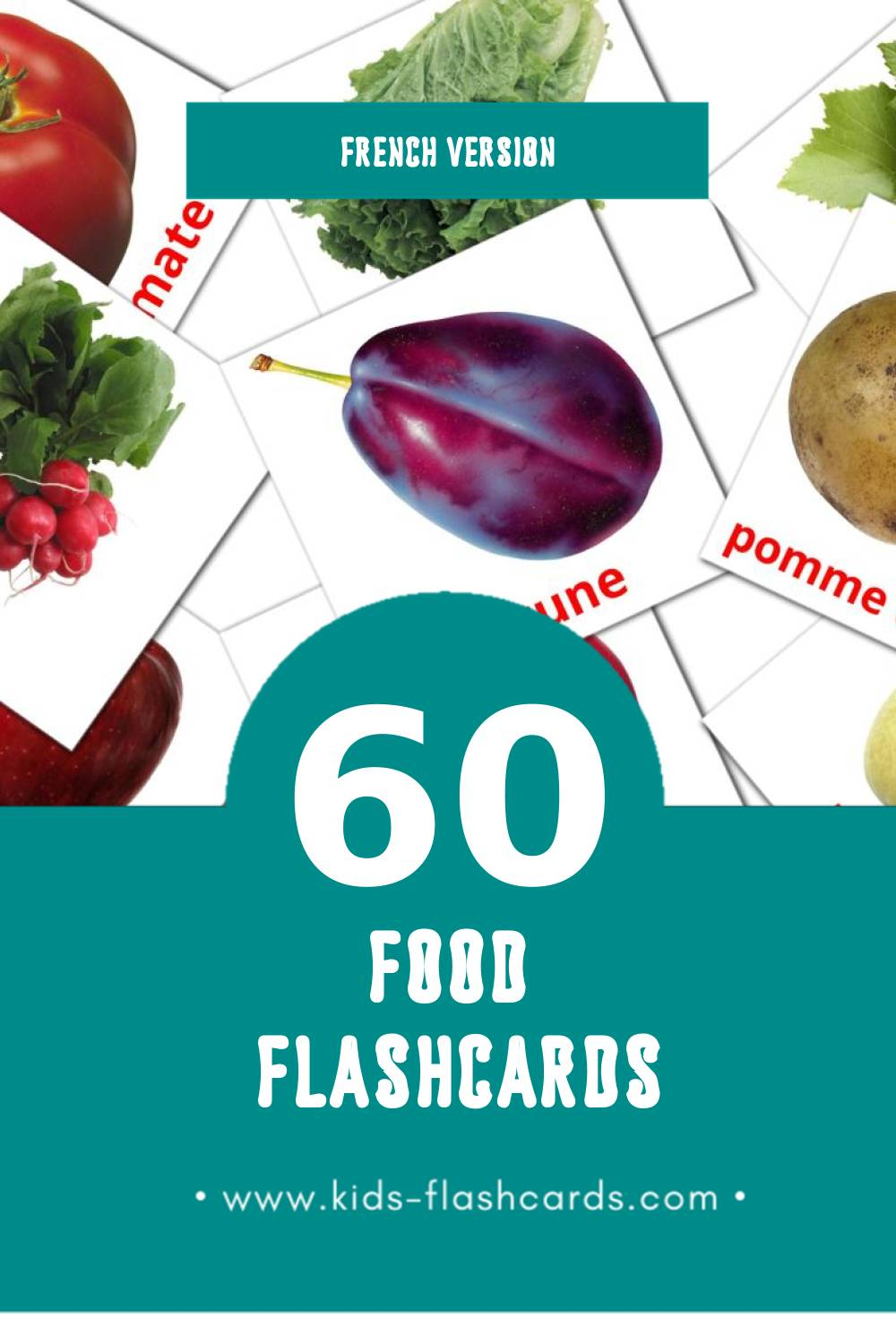Visual Nourriture Flashcards for Toddlers (60 cards in French)