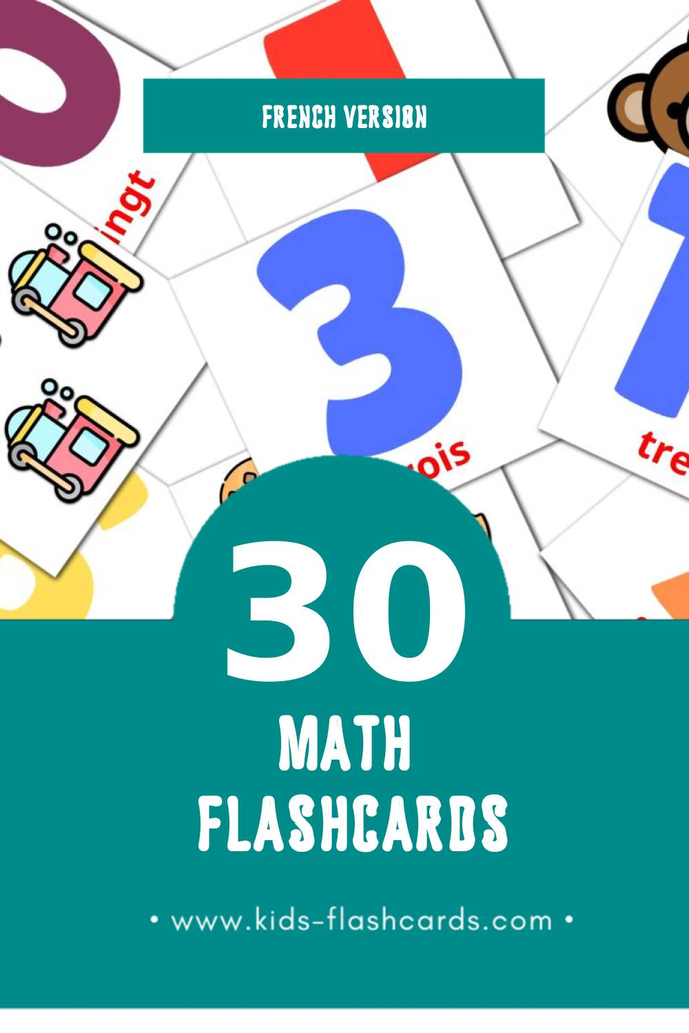 Visual Math Flashcards for Toddlers (30 cards in French)