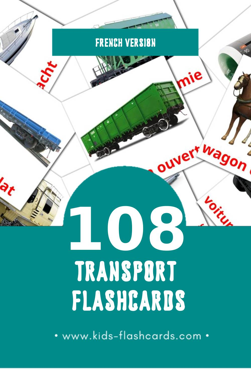 Visual transport par eau Flashcards for Toddlers (60 cards in French)