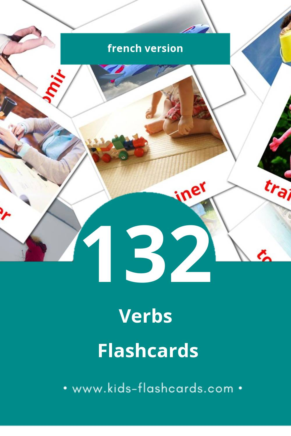 Visual Verbes Flashcards for Toddlers (133 cards in French)