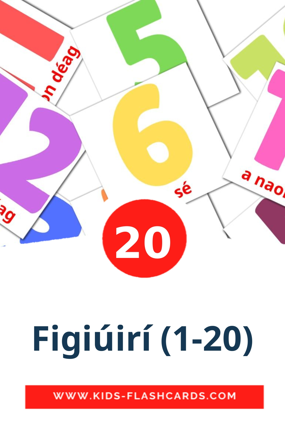 20 Figiúirí (1-20) Picture Cards for Kindergarden in irish
