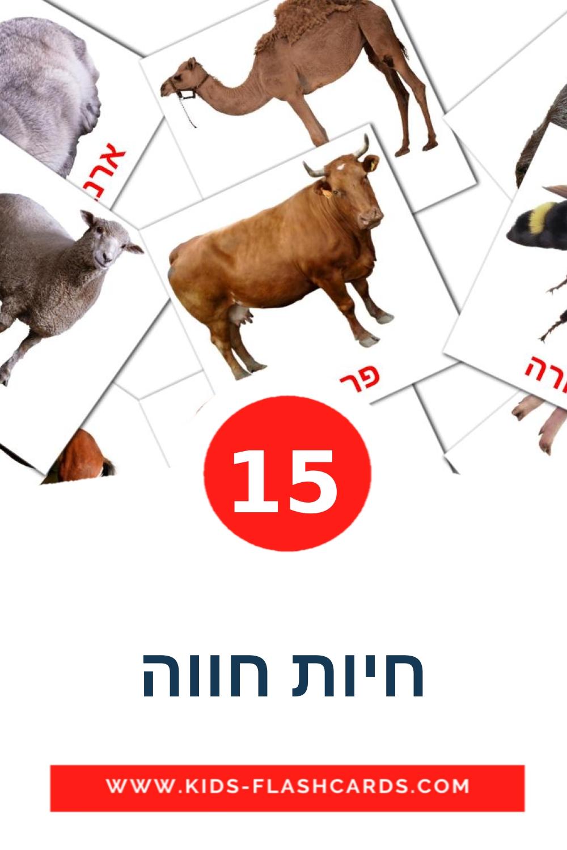 15 חיות חווה Picture Cards for Kindergarden in hebrew