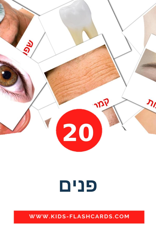 20 פנים Picture Cards for Kindergarden in hebrew
