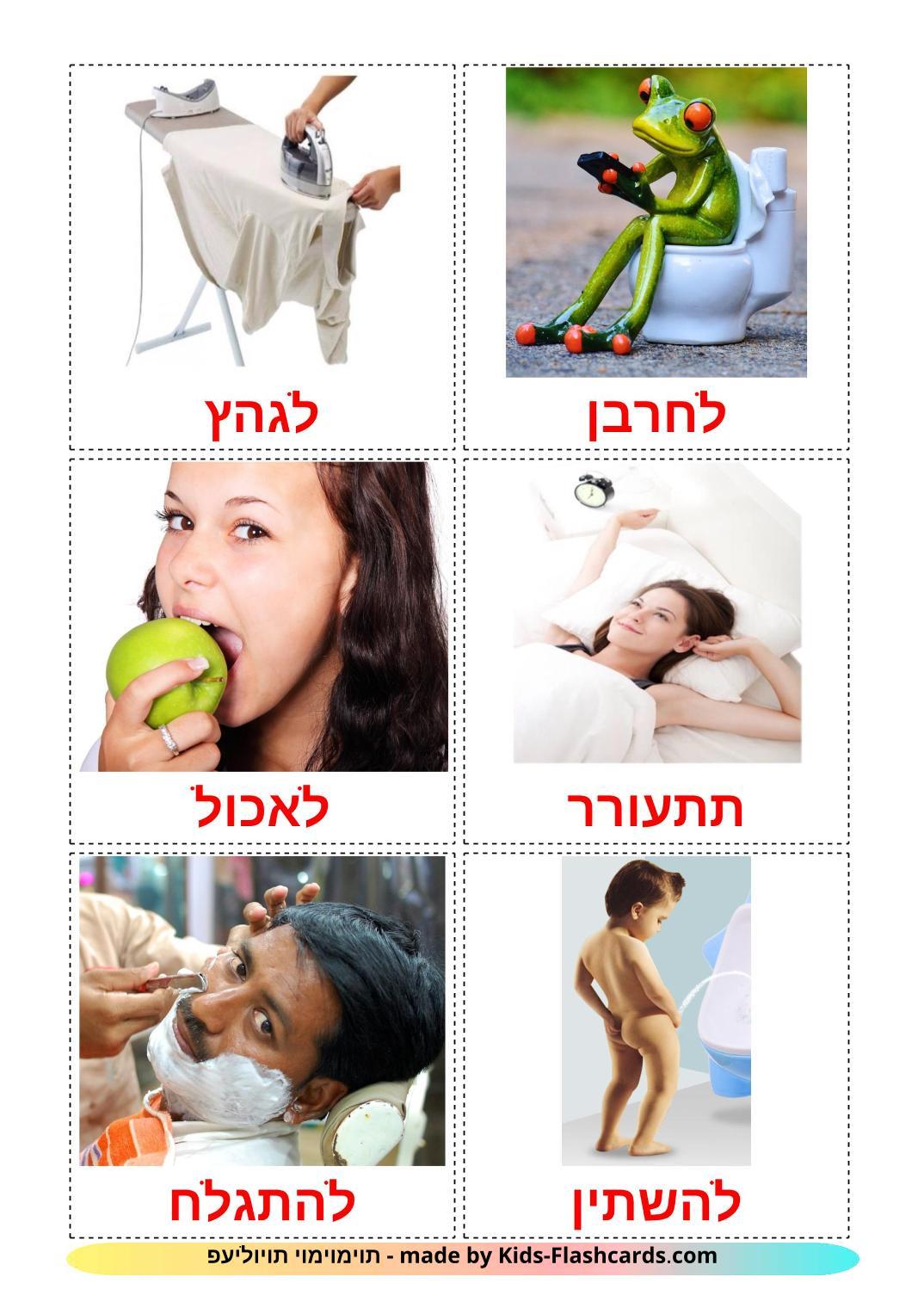 Routine verbs - 33 Free Printable hebrew Flashcards