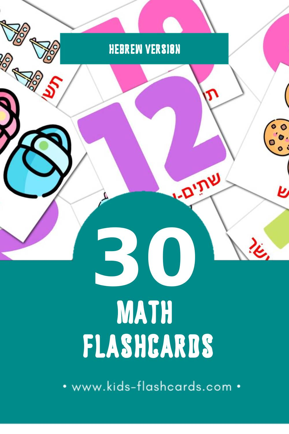 Visual מָתֶמָטִיקָה Flashcards for Toddlers (20 cards in Hebrew)