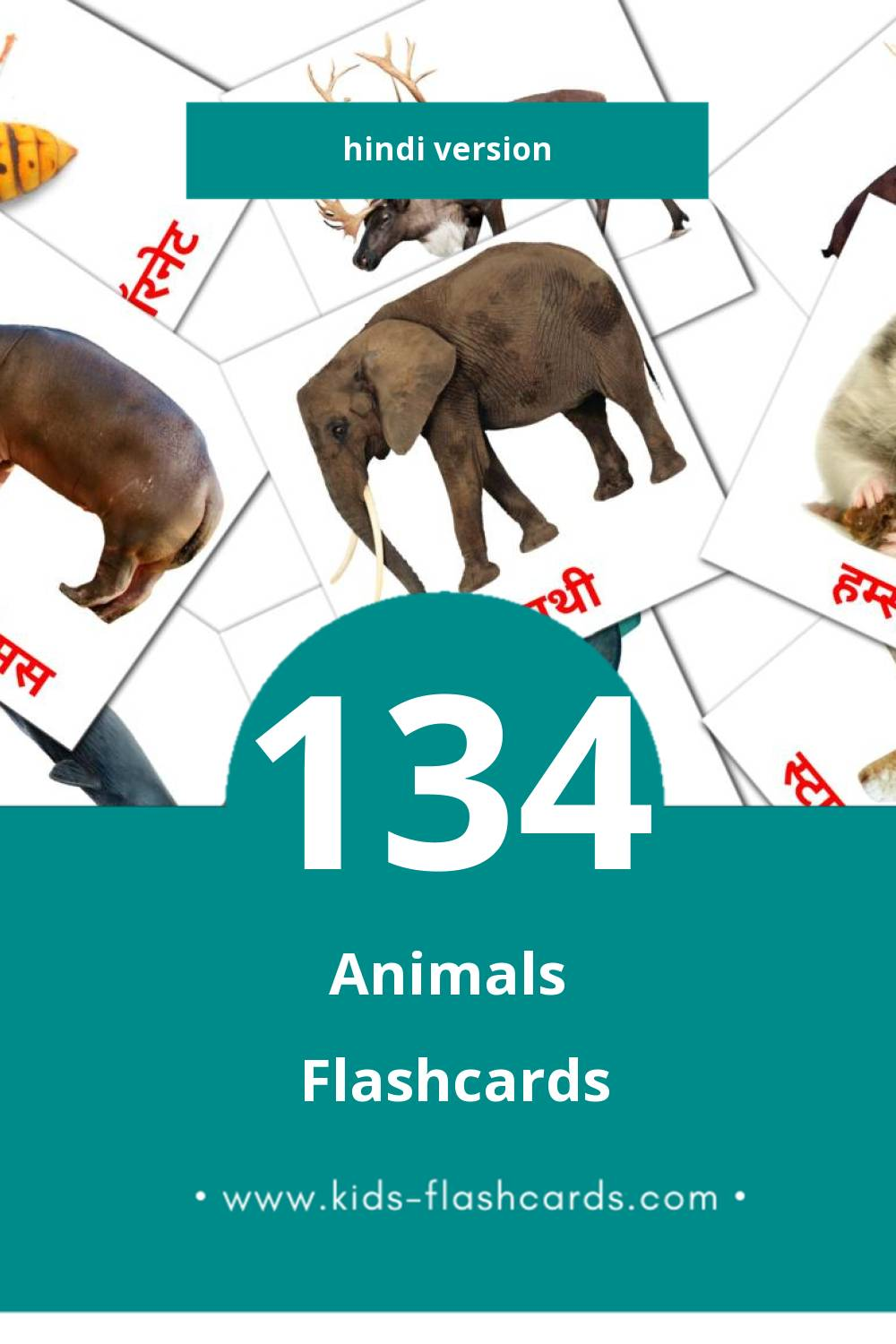Visual जानवर Flashcards for Toddlers (134 cards in Hindi)