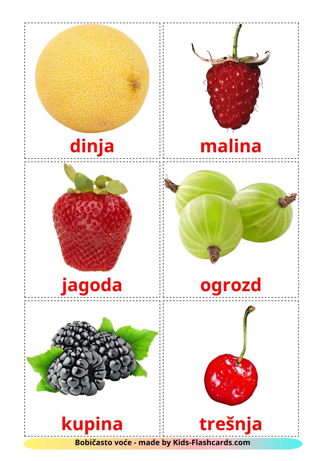 Berries - 11 Free Printable croatian Flashcards