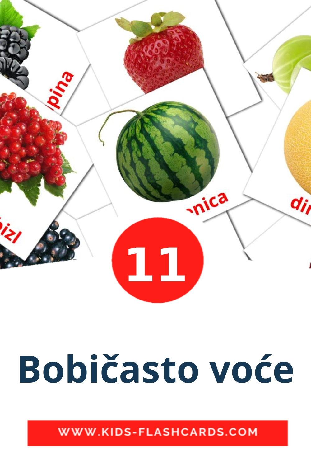 11 Bobičasto voće Picture Cards for Kindergarden in croatian