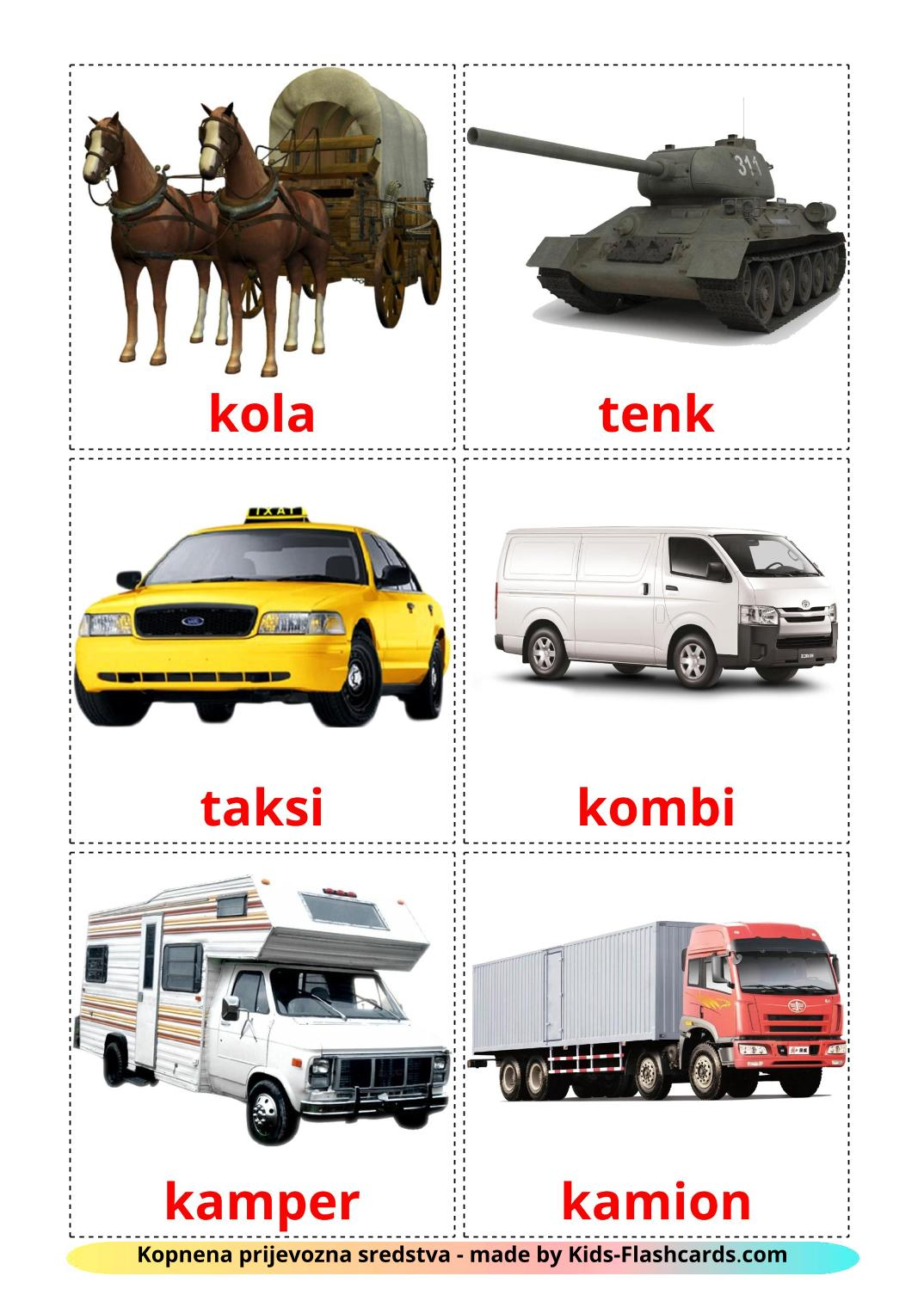 Land transport - 28 Free Printable croatian Flashcards