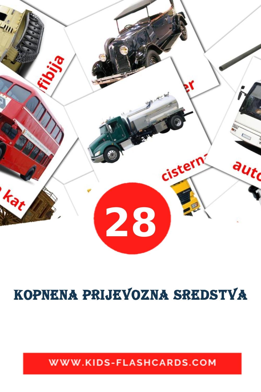 28 Kopnena prijevozna sredstva Picture Cards for Kindergarden in croatian