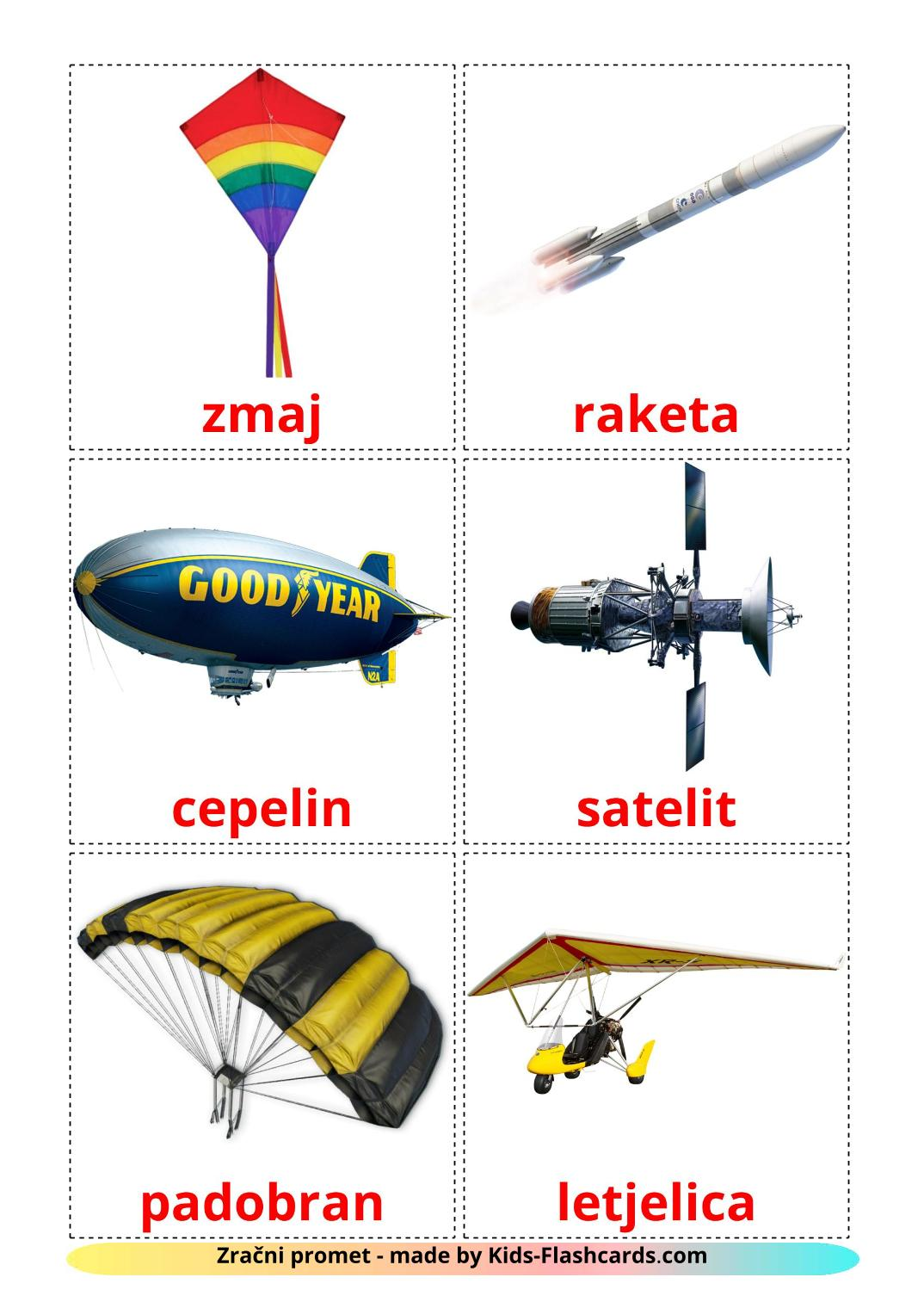 Aircraft - 14 Free Printable croatian Flashcards