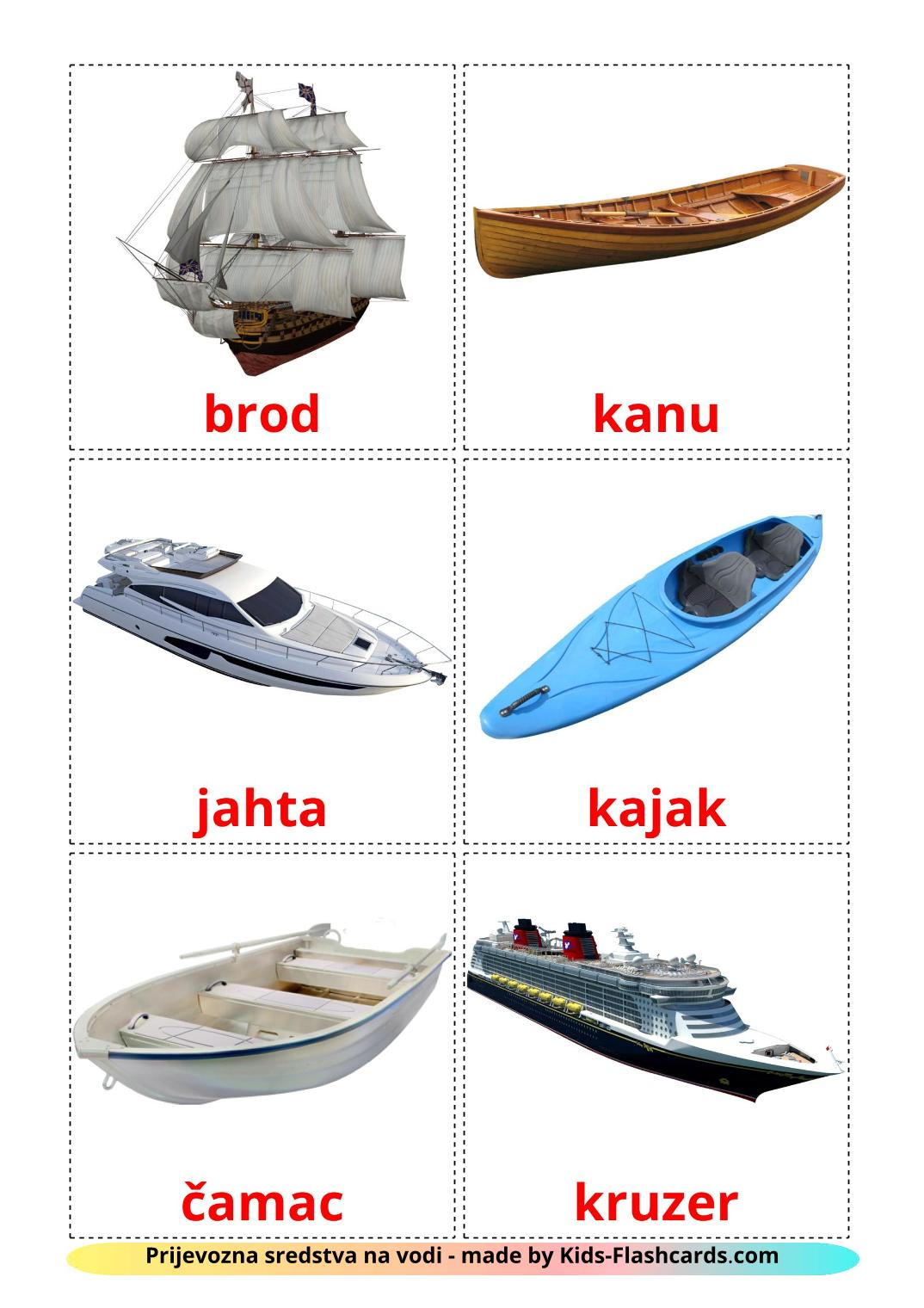 Water transport - 18 Free Printable croatian Flashcards
